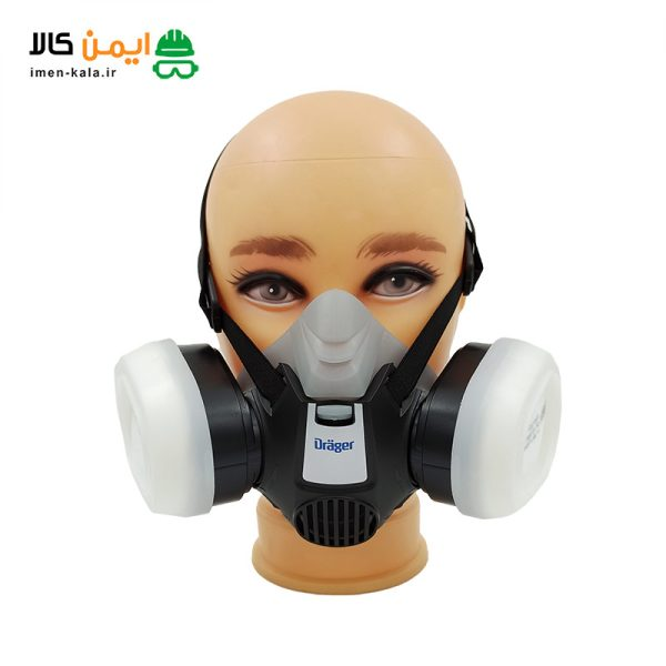 ماسک نیم صورت 3300 دراگر به همراه فیلتر بایونت پد فیلتر و قاب